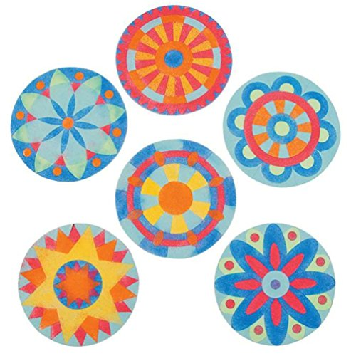 Fun Express Beautiful Mandala Sand Art Pictures - Brilliant Colors - 24 Kits
