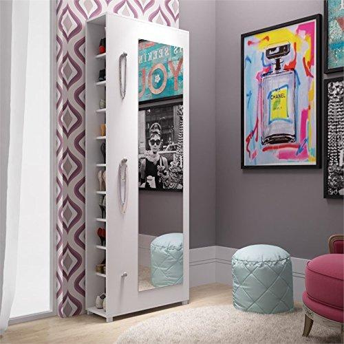 Manhattan Comfort Valencia 10 Shelf Shoe Closet with Mirror in White by Manhattan Comfort