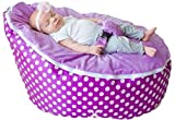 BayB Brand Baby Bean Bag - Filled - Purple Polka Dot