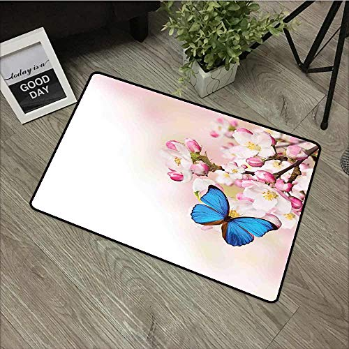 - Bath mat Modern Blue Butterfly on Spring Cherry Blossoms Japanese Flower White Pink Orchard Nature Easy Clean Rugs 24