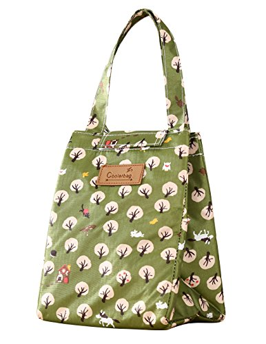 WOOSAL Cute Insulated Lunch Bag Lunch Tote Cooler Bag for Women Kids (Tree Green)