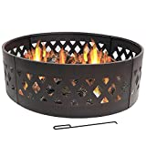 Sunnydaze Crossweave Fire Pit Campfire Ring, Large Outdoor Heavy Duty Metal Wood Burning Firepit, 36 Inch For Sale