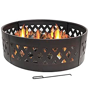 Sunnydaze Crossweave Fire Pit Campfire Ring, Large Outdoor Heavy Duty Metal Wood Burning Firepit, 36 Inch