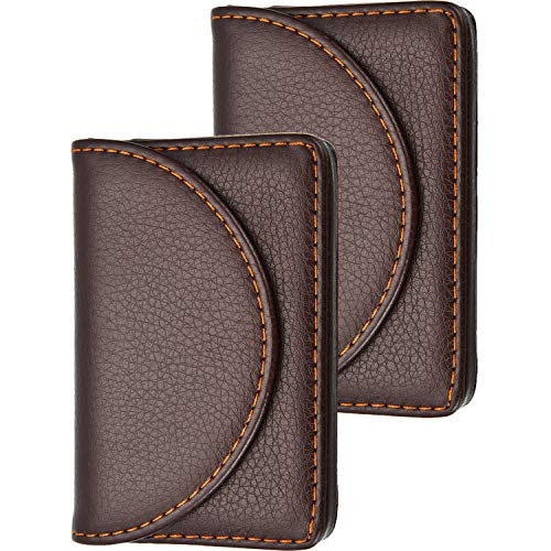 Blulu 2 Pieces PU Leather Business Card Cases Card Holder Wallet Name Card Case with Magnetic Shut for Men and Women (Coffee)
