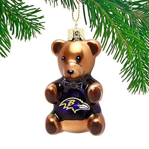 Memory Co Baltimore Ravens Blown Glass Teddy Bear Ornament