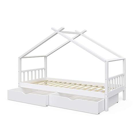 Vicco Kinderbett Hausbett Design 90x200cm INKL SCHUBLADEN Kinder ...