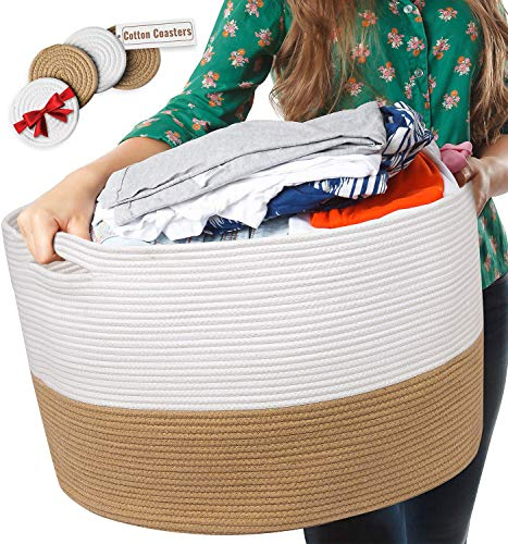 XXXL Cotton Rope Basket | 22″x14″ Huge Blanket Basket with Strong Handles - Easy to Carry Laundry Woven Basket for Clothes, Blankets, Toys, Nursery - White and Beige (Laundry Large Baskets Extra)