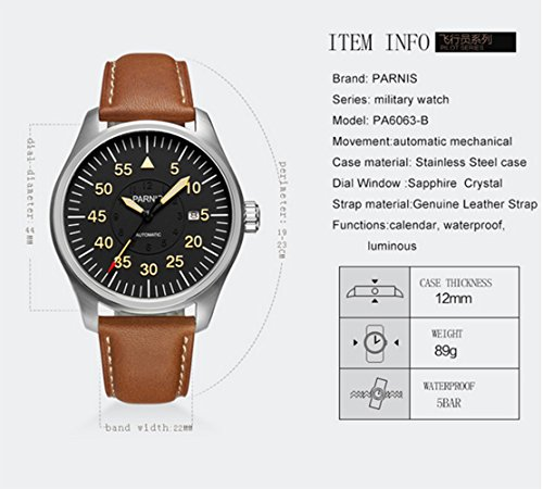 Luxury Men Automatic Mechanical Black Dial Luminous Waterproof Sapphire Genuine Brown Leather Watch (Brown Silver Black) by Fanmis (Image #6)