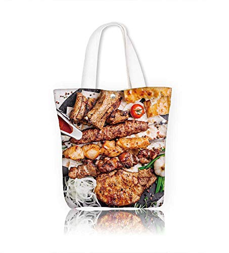 canvas tote bag healthy barbecue different meat with vege and sauce served with a black plate closeup view reusable canvas bag bulk for grocery,shopping  W16.5xH14xD7 ()