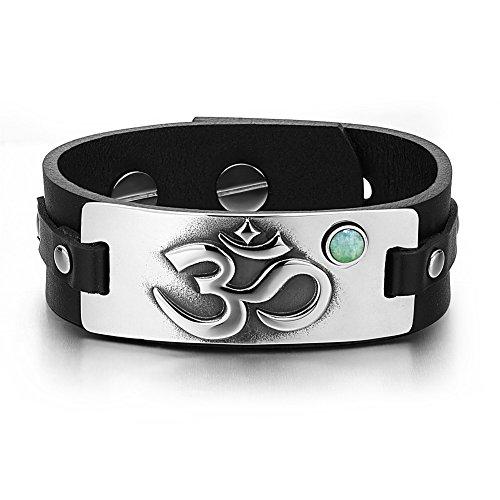 Black Leather Green Stripe (OM Ancient Tibetan Amulet Magic Powers Tag Green Quartz Gemstone Adjustable Black Leather Bracelet)