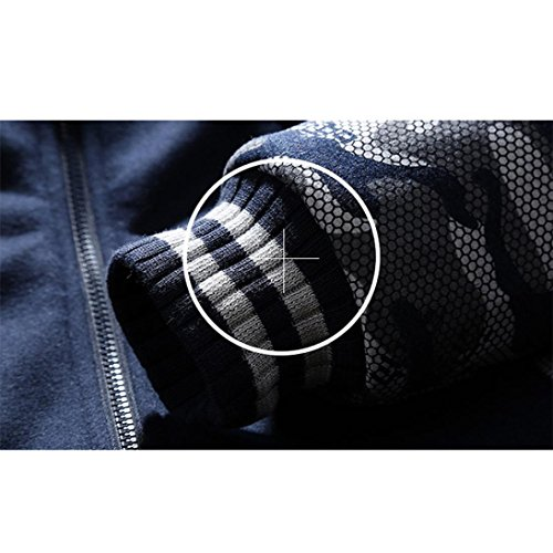 invierno hombre de OverDose lana con capucha abrigo abrigos de cremallera de campera Azul la 5Iq5x4wET