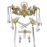 Girls Crown, Beautiful headdress/Xiu Wo Headwear Chinese Wedding Accessories Bridal Crown Court Air Tassel Super Fairy Costume.
