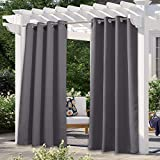 NICETOWN Waterproof Windtight Curtain Panel - Outdoor Thermal Insulated Blackout Shade for Pergola/Gazebo (52 x 95 Inch, Gray, 1 Panel)