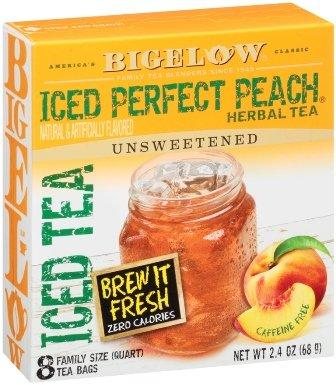 Bigelow Iced Perfect Peach Herbal Tea 8 Ct (Pack of 2) - Caffeine Peach Tea Free
