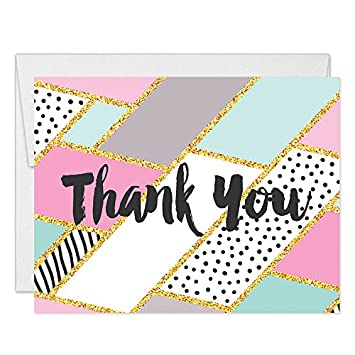 Colorful Pastel Geometric Thank You Cards With Envelopes Pack Of 50 Folded Blank