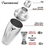 Professional Cocktail Shaker Set - 25oz - 0.8mm Thickness, 18/8 304 No Rust Grade Stainless Steel, Double Jigger, Recipes Booklet & eBook Included