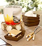 Plow & Hearth Indoor S'mores Maker - Campfire Design with Roasting Sticks and Serving Plates - Glazed and Painted Ceramic, Metal and Wood - 6'' dia. x 6''H