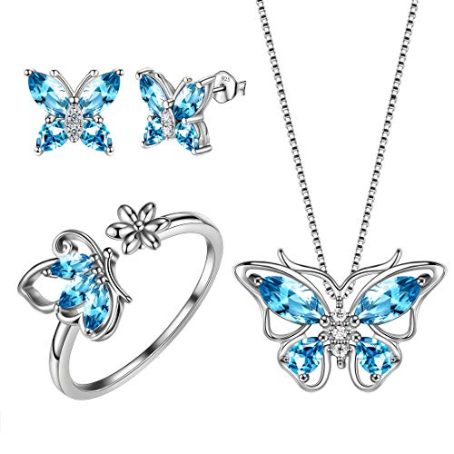 Aurora Tears Light Blue Butterfly 925 Sterling Silver Butterflies Necklace/Earrings/Rings Sets March-Aquamarine Birthstone Jewellery DS0039S