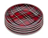 Godinger Holiday Plate Vintage Plaid Print - Set of Four - 6 inches