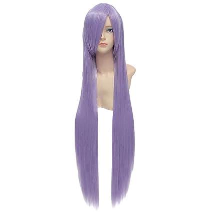 Baisheng Haruka Naru Toki no Naka de 100cm Lavender Straight Long Sintético completo Cosplay Traje Anime