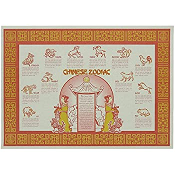 photograph about Printable Chinese Zodiac Placemat identify : Chinese Zodiac Paper Placemats 50 Parts (PP-02