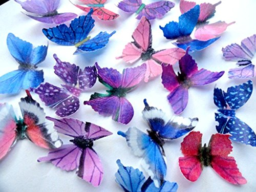 PURPLE PINK & BLUE Small Assorted Set of 12 Edible Butterflies - Cake and Cupcake Toppers, Decorations