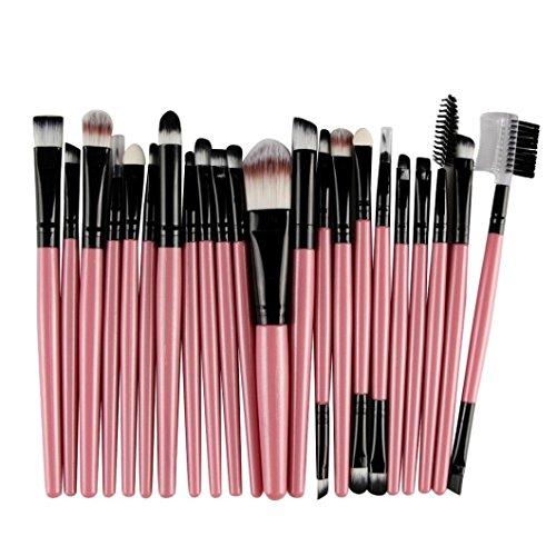 Make Up Kits Professional Natural Hair, Kingfansion 22Pcs/Set Lip Mascara Eyeliner Eyeshadow Brush Kit for Women under 10 Dollars (Pink)