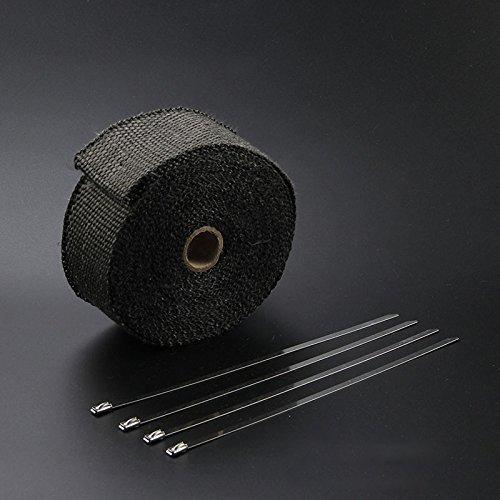 Rollo de cinta aislante SHiZAK multiuso para tubo de escape, coche, motocicleta, horno, maquinaria agrí cola, etc. Color negro (1,5 mm de grosor) maquinaria agrícola 5mm de grosor)