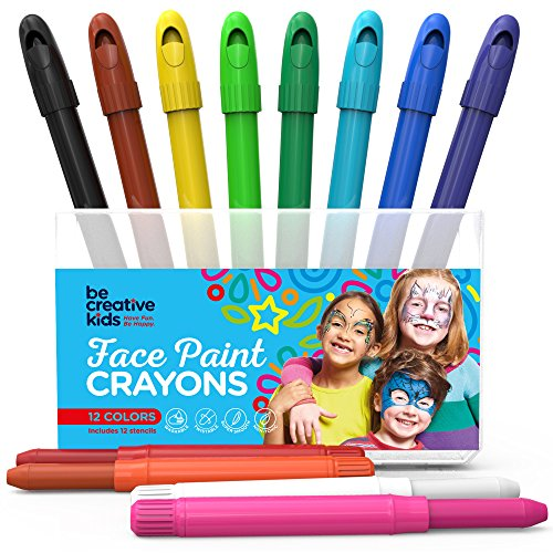 Best Face Paint Kit For Kids With 12 Non Toxic Color Sticks   Best Quality Body Painting Set  Sturdy Case 12 Bonus Stencils   Ebook   Easy To Apply  Long Lasting Water Based Twist Up Crayons