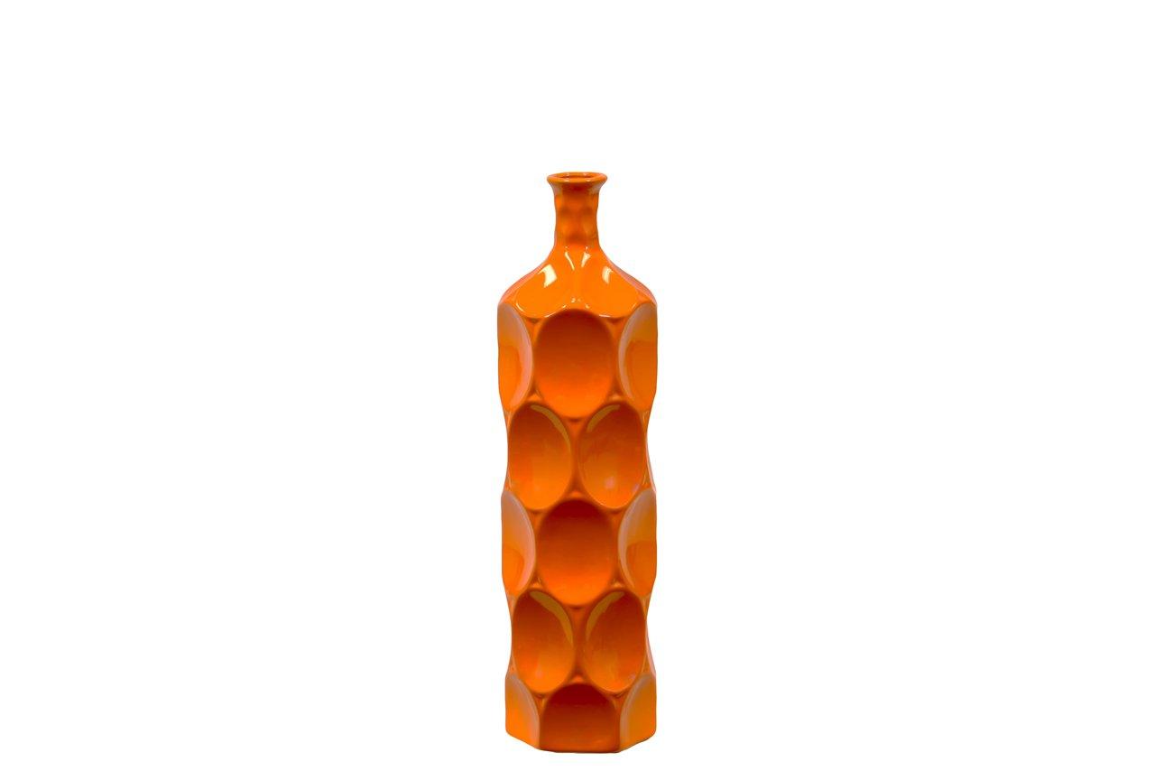 Benzara Unique Ceramic Bottle with Thin Mouth /& Circular Embedded Design Body Medium Orange Benzara Imports BRU-246048