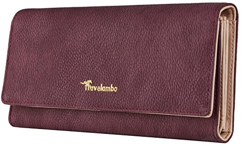 Travelambo Womens Wallet Faux Leather RFID Blocking Purse Credit Card Clutch (Purple Reddish 565) by Travelambo
