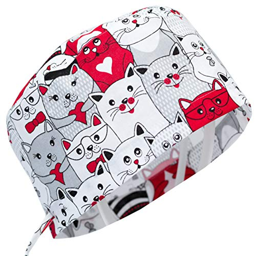 Doctor Nurse Scrub Cap Surgical Hat Unisex Animal Print Medical Uniform Cat (Red)