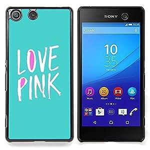Eason Shop / Premium SLIM PC / Aliminium Casa Carcasa Funda Case Bandera Cover - Púrpura Texto Verde Blanco del trullo - For Sony Xperia M5