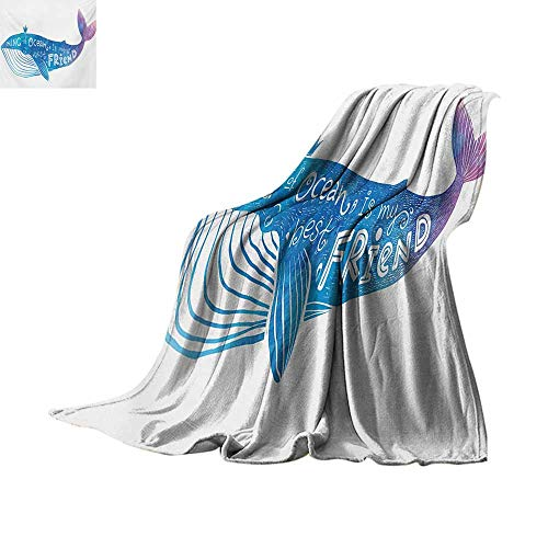 lanket King of Ocean is My Best Friend in Watercolor Abstract Style Quote on Whale Print Summer Quilt Comforter 50