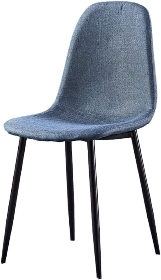 YB&GQ Set of 2 Dining Chair for Kitchen,mid Century Modern Eames Chairs with Back,Linen Fabric Upholstered Side Chair for Living Outdoor Blue 44x39x84cm(17x15x33inch)