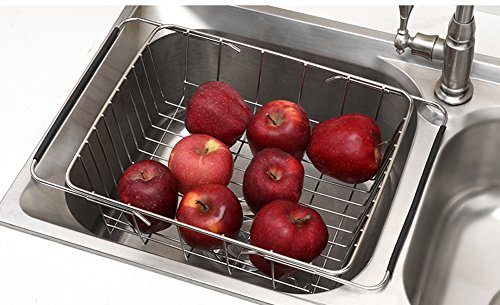 (QIN.J.FANG Stainless Steel Kitchen Sink Drain And Stand,Retractable Sink Rectangular Dish Rack Fruit And Vegetable Basket,Flatnet)
