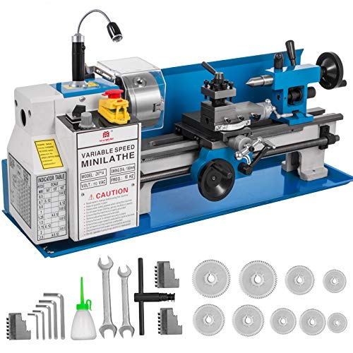 Mophorn 7x14inch Metal Lathe 550W Precision Bench Top Mini Metal Lathe Variable Speed 50-2500 RPM Nylon Gear with A Movable Lamp
