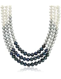 Sterling Silver Dyed Multi-colors Cultured Freshwater Pearl 3-rows Choker Necklace (6-8mm)