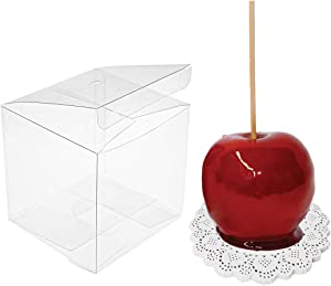 JOERSH Clear Candy Apple Box with Hole Top Pack of 30 | 4