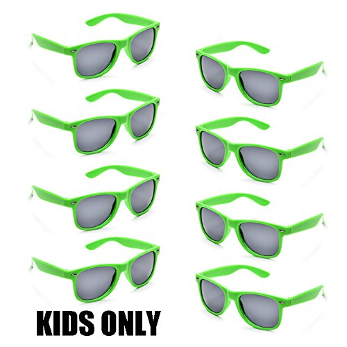 Neon Colors Party Favor Supplies Unisex Sunglasses Pack of 8 for Kids (8 Pack Green)