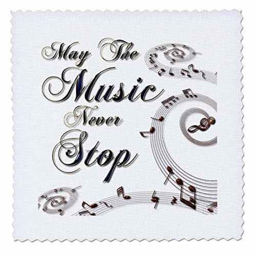 3dRose May The Music Never Stop with Musical Notes - Quilt Square, 12 by 12-Inch (qs_213981_4)