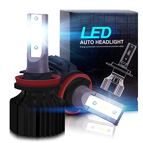 H11 LED Headlight Bulbs - Pohopa H11 Headlights All-in-One Conversion Kit 2Packs ( DOT Approved ) with 50W 8000LM Light Bulbs CSP LED Chips - Cool White 5500K -2 Year Warranty (Chip 5500)