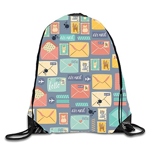 Drawstring Backpack Gym Sack Pack Pattern Postal Stationery Christmas Gift Bags