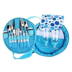 Conjunto De Vajillas Práctico Set Utensilio Vajilla Portable Conjunto Con Bolsa De Transporte - Azul, 26cm x 26cm x 8cm