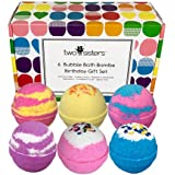 6 BUBBLE Bath Bombs - Birthday Gift Set - Large Lush Spa Fizzy Kit, Best Gift Idea for Women, Teens, Girls - Homemade by Moms in the USA - Two Sisters Spa - Birthday Cupcake, Blackberry, Cotton Candy