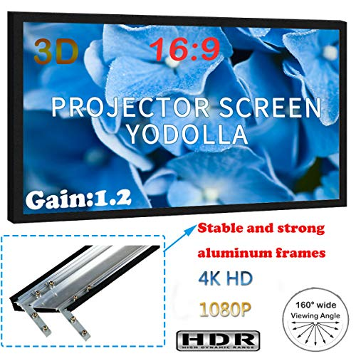 YODOLLA 1.2 Gain 120″ Fixed Frame Projector Screen 4K Ultra HD 3D with 160° Viewing Angle Movie Projector Screen