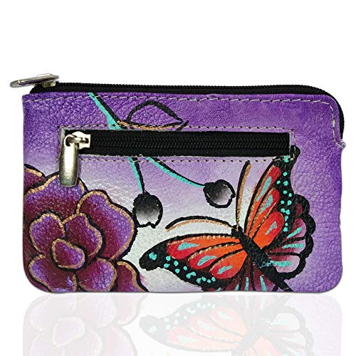 Louis Pelle RFID Blocking Hand Panted Coin Change Pouch Genuine Leather Minimalist Women Wallet (Floral Butterfly)