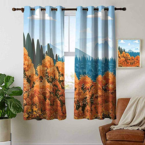petpany Living Room Curtains Forest,Artistic Display of Backwoods with Open Sky Mountains and Clouds,Orange Pale Blue Army Green,Adjustable Tie Up Shade Rod Pocket Curtain 42