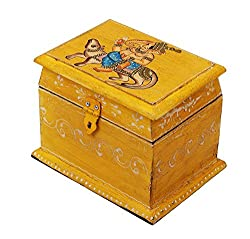 Vintage Like Hand Painted Treasure Chest ( 8 x 6 inches) Wooden Keepsake Box Jewelry Organizer