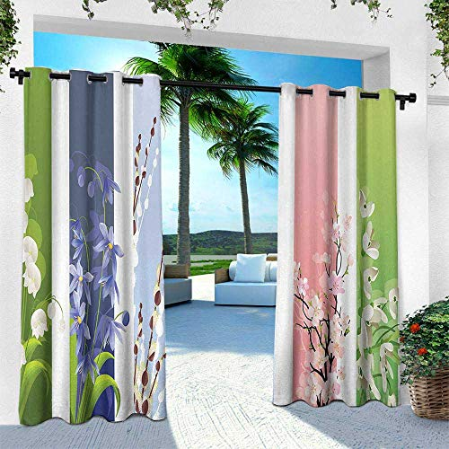 Hengshu Flower, Exterior/Outside Curtains,Spring Flowers on Different Backgrounds Lily Valley Primrose Floral Home Decor Print, W120 x L108 Inch, ()
